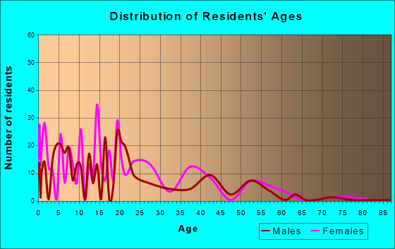 Tsaile, Arizona Age and Sex of Residents