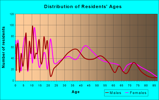 Monticello, New York Age and Sex of Residents