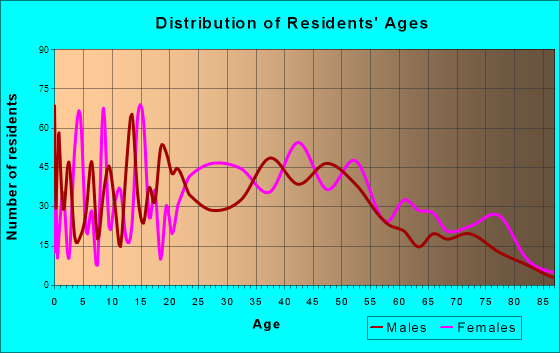 Hurricane, West Virginia Age and Sex of Residents