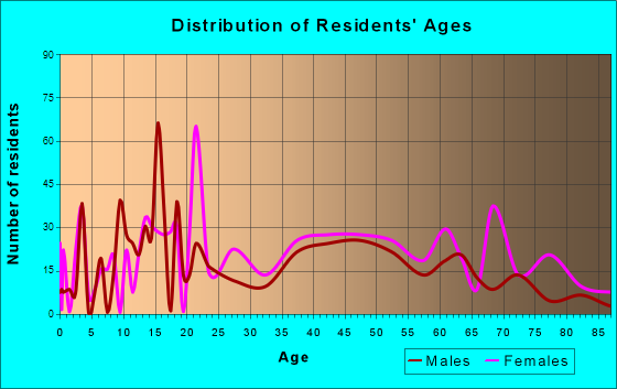 Summersville, West Virginia Age and Sex of Residents