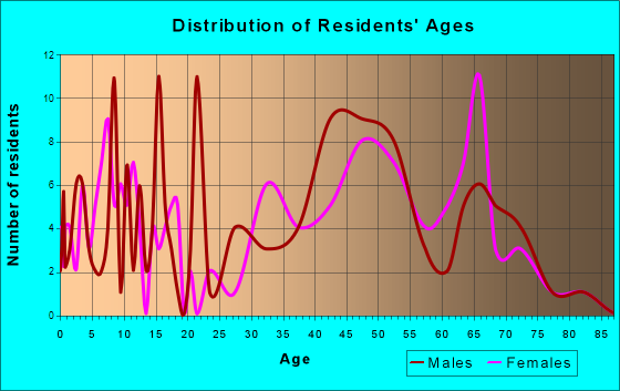 Palm Shores, Florida Age and Sex of Residents