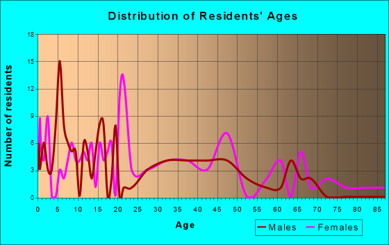 North Salem, Indiana Age and Sex of Residents