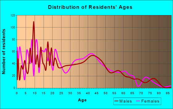 South Haven, Indiana Age and Sex of Residents