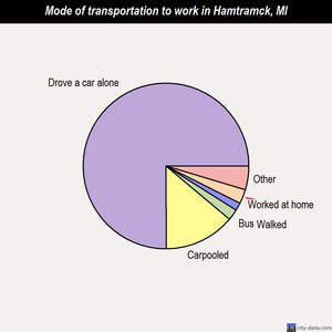 Hamtramck mode of transportation to work chart