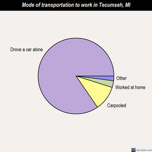 Tecumseh mode of transportation to work chart