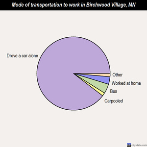 Birchwood Village mode of transportation to work chart