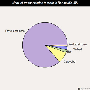 Booneville mode of transportation to work chart