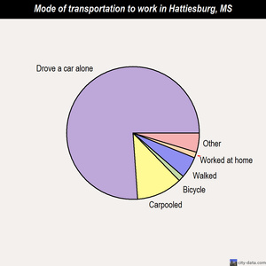 Hattiesburg mode of transportation to work chart