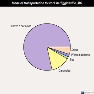 Higginsville mode of transportation to work chart