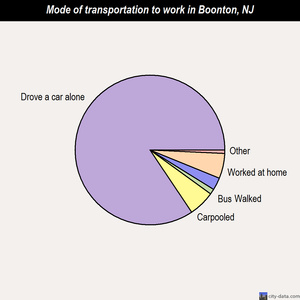 Boonton mode of transportation to work chart