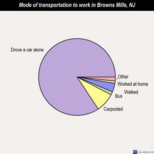 Browns Mills mode of transportation to work chart