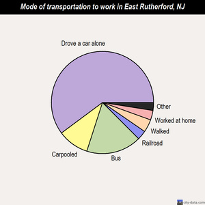 East Rutherford mode of transportation to work chart