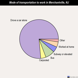 Merchantville mode of transportation to work chart