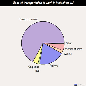 Metuchen mode of transportation to work chart