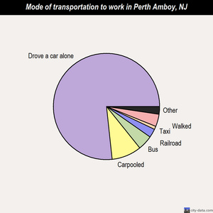 Perth Amboy mode of transportation to work chart
