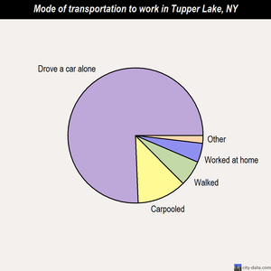 Tupper Lake mode of transportation to work chart