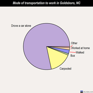 Goldsboro mode of transportation to work chart