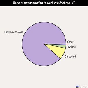 Hildebran mode of transportation to work chart