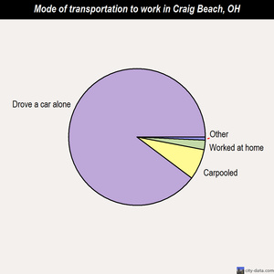 Craig Beach mode of transportation to work chart