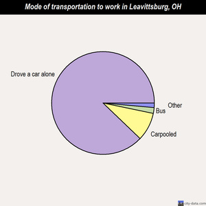 Leavittsburg mode of transportation to work chart
