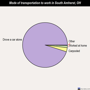 South Amherst mode of transportation to work chart