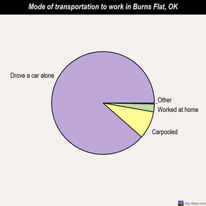 Burns Flat mode of transportation to work chart