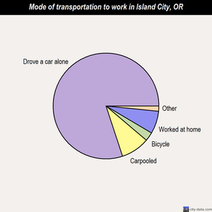 Island City mode of transportation to work chart