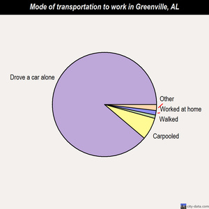 Greenville mode of transportation to work chart