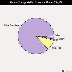 Homer City mode of transportation to work chart