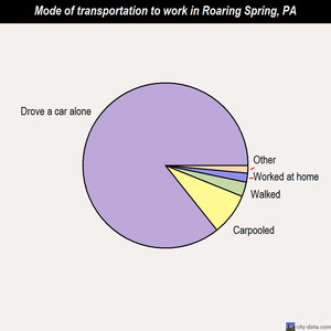 Roaring Spring mode of transportation to work chart