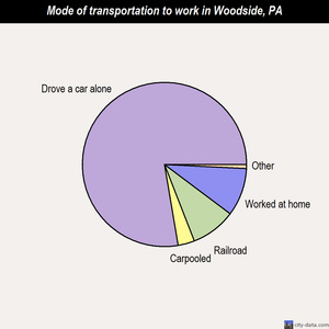 Woodside mode of transportation to work chart