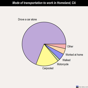 Homeland mode of transportation to work chart
