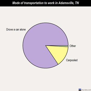 Adamsville mode of transportation to work chart