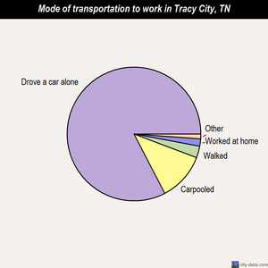 Tracy City mode of transportation to work chart