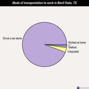 Bevil Oaks mode of transportation to work chart