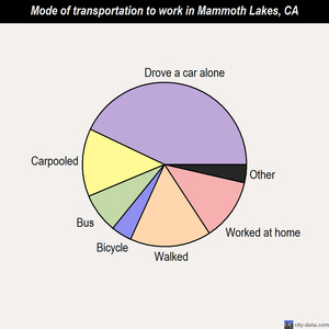 Mammoth Lakes mode of transportation to work chart