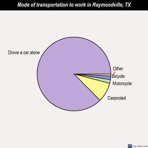 Raymondville mode of transportation to work chart