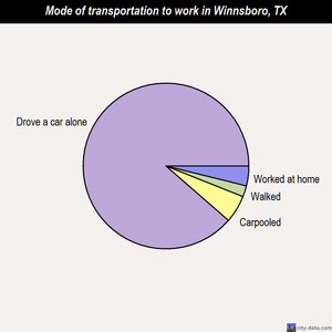 Winnsboro mode of transportation to work chart