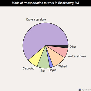 Blacksburg mode of transportation to work chart