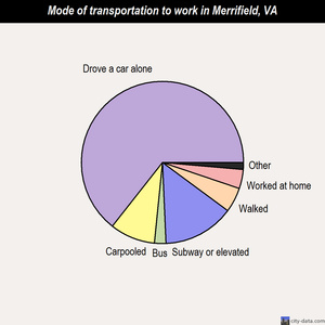 Merrifield mode of transportation to work chart