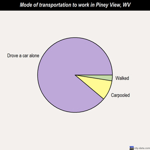 Piney View mode of transportation to work chart