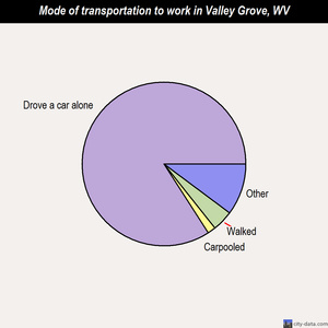 Valley Grove mode of transportation to work chart