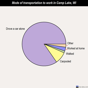 Camp Lake mode of transportation to work chart