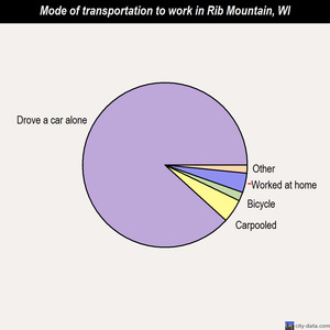 Rib Mountain mode of transportation to work chart