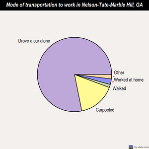 Nelson-Tate-Marble Hill mode of transportation to work chart