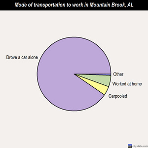 Mountain Brook mode of transportation to work chart