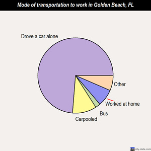 Golden Beach mode of transportation to work chart