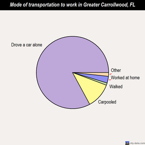 Greater Carrollwood mode of transportation to work chart