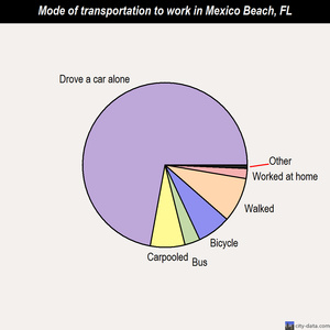 Mexico Beach mode of transportation to work chart