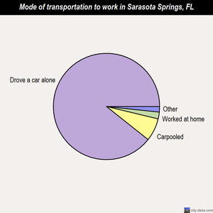Sarasota Springs mode of transportation to work chart